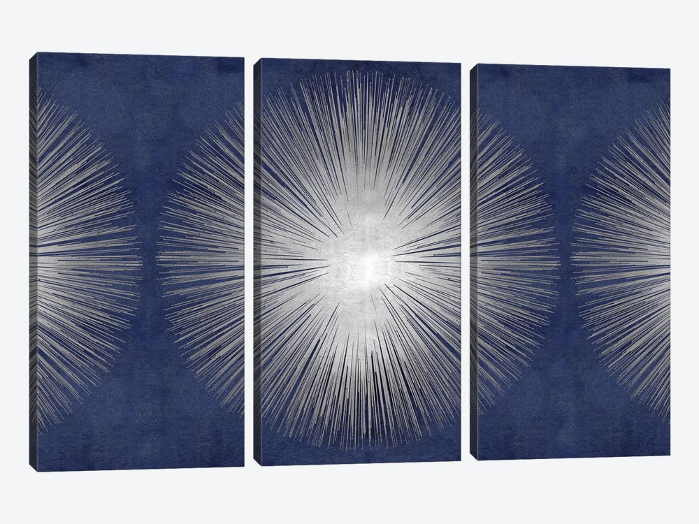 Silver Sunburst On Blue III by Abby Young 3-piece Canvas Artwork