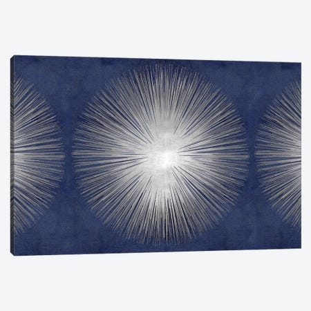 Silver Sunburst On Blue III 3-Piece Canvas #ABB14} by Abby Young Canvas Art