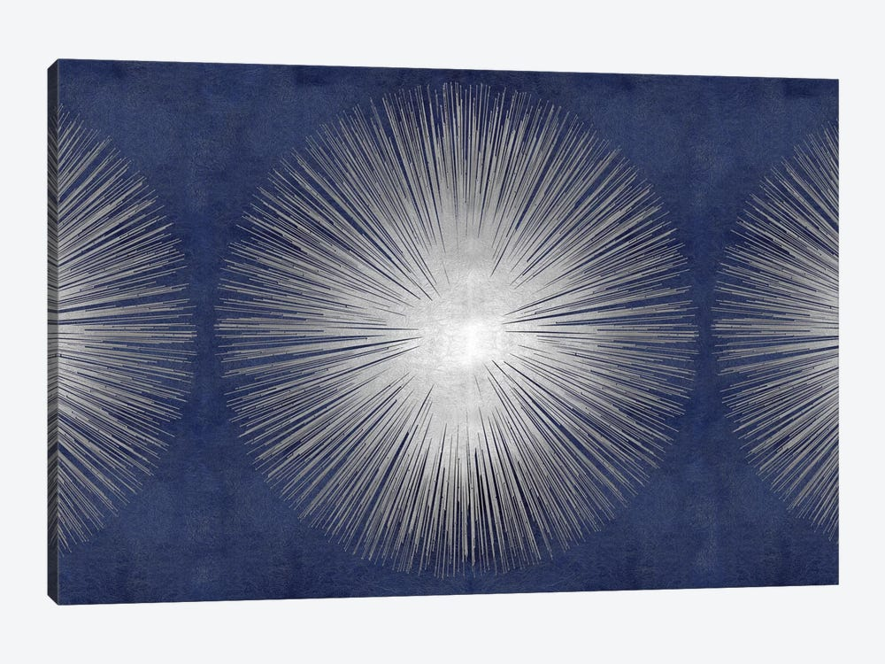Silver Sunburst On Blue III by Abby Young 1-piece Canvas Art