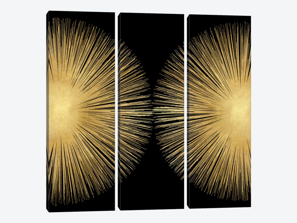 Sunburst On Black II by Abby Young 3-piece Canvas Print