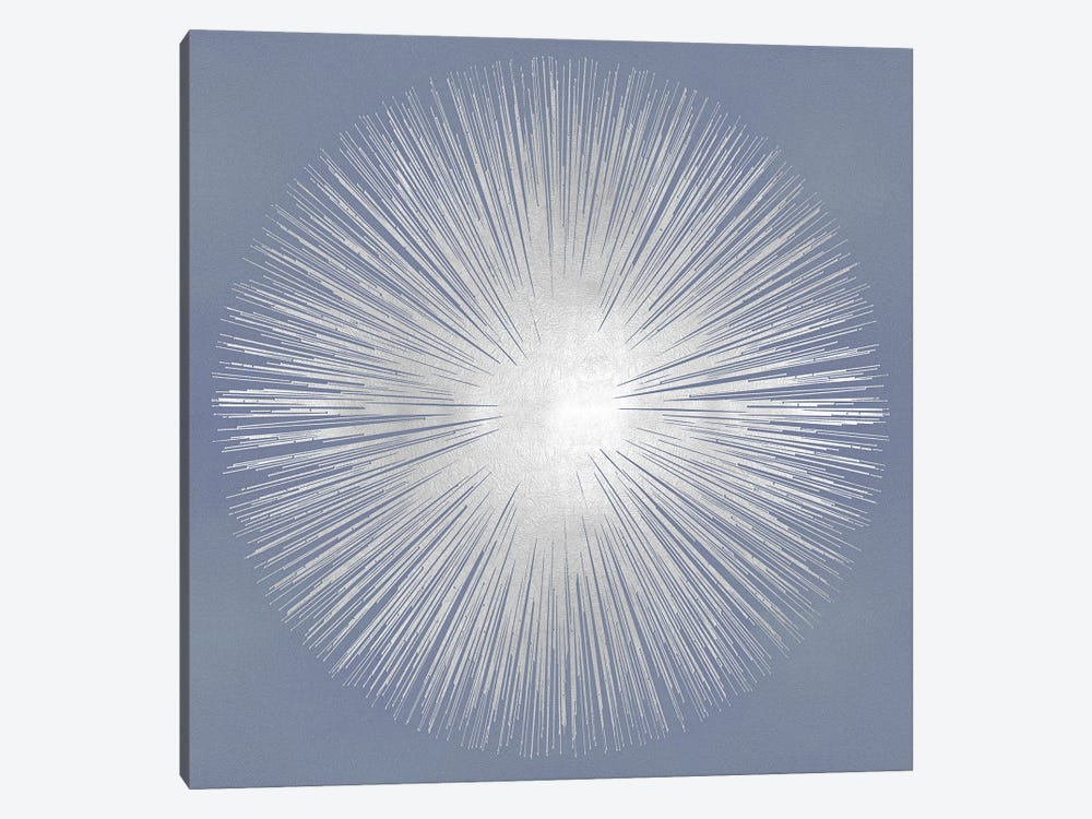 Silver Sunburst On Gray I by Abby Young 1-piece Canvas Art