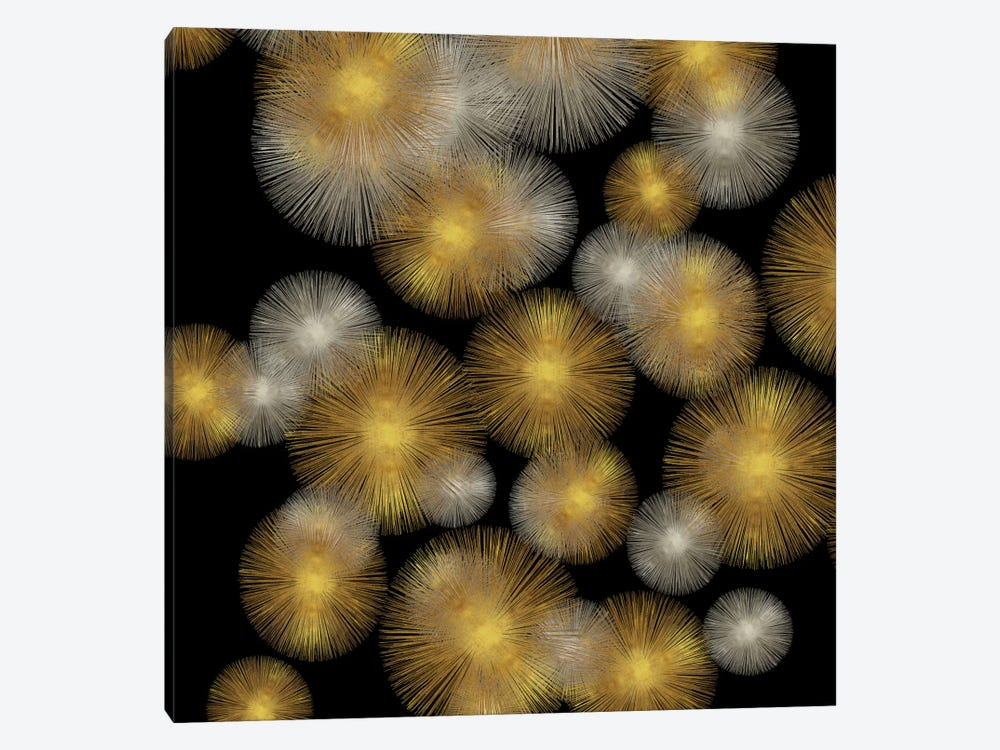 Flourish In Gold And Silver by Abby Young 1-piece Canvas Wall Art
