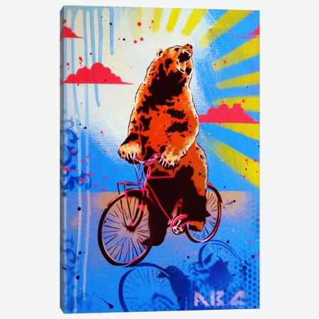 Bear Back Rider Canvas Print #ABC1} by AbcArtAttack Canvas Print