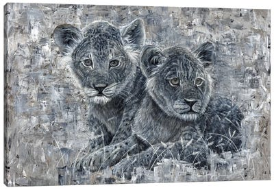 Power Of The Pride Lion Cubs Canvas Art Print