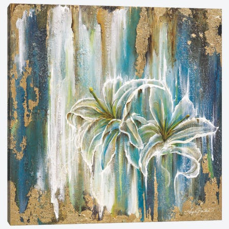 Beach Lilies Canvas Print #ABD34} by Angela Bawden Canvas Artwork