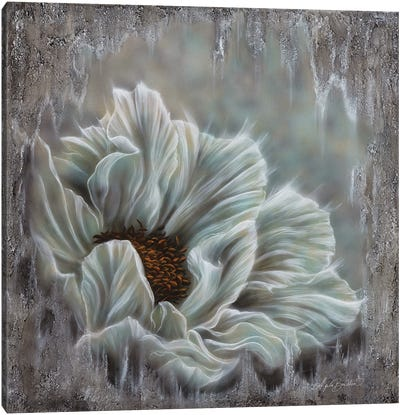 Minty Blue Peony Canvas Art Print