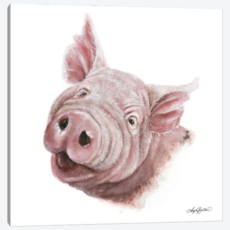 Penny The Pig Canvas Print #ABD48} by Angela Bawden Canvas Wall Art