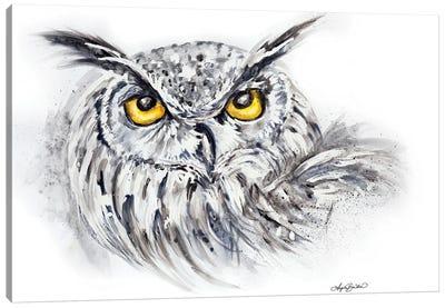 Eagle Owl In Watercolor Canvas Art Print
