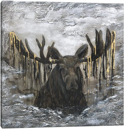 Moose In The Mist Canvas Art Print