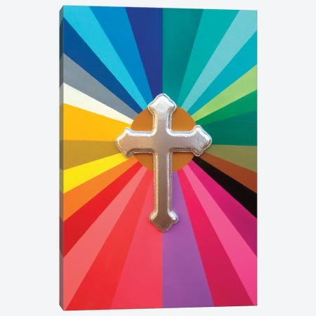 Rainbow Cross Canvas Print #ABG195} by Abstract Graffiti Canvas Art
