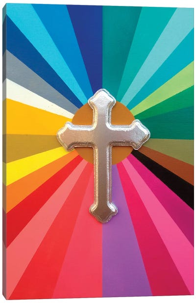 Rainbow Cross Canvas Art Print
