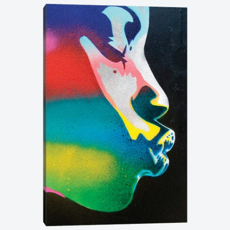 Rainbow Kiss Canvas Print #ABG197} by Abstract Graffiti Canvas Wall Art
