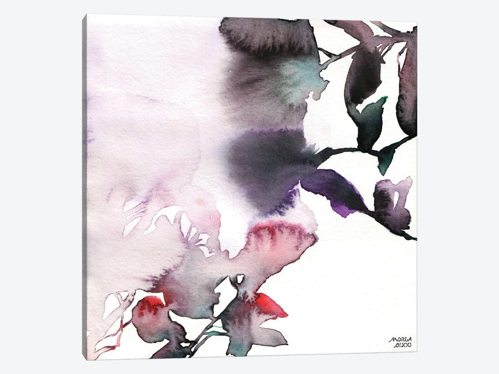 Watercolor Floral Pink Purple Trio I 1-piece Canvas Art Print