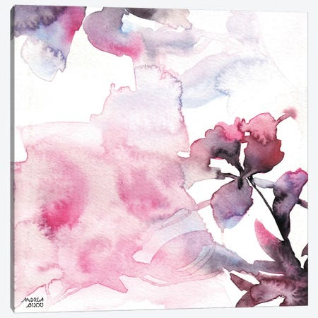 Watercolor Floral Pink Purple Trio II Canvas Print #ABI11} by Andrea Bijou Canvas Artwork