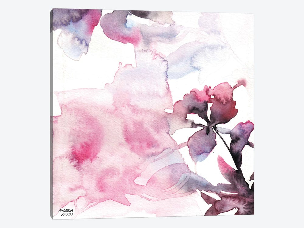 Watercolor Floral Pink Purple Trio II by Andrea Bijou 1-piece Canvas Art