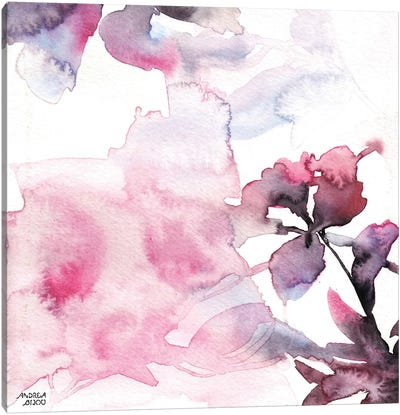 Watercolor Floral Pink Purple Trio II Canvas Art Print