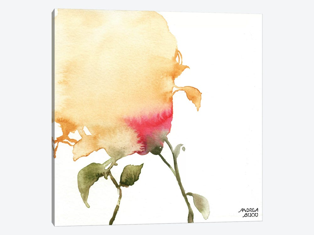 Watercolor Floral Yellow and Red I by Andrea Bijou 1-piece Canvas Wall Art