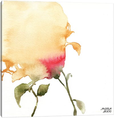 Watercolor Floral Yellow and Red I Canvas Art Print