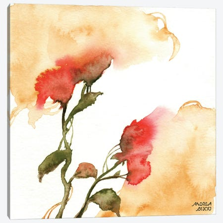 Watercolor Floral Yellow and Red II Canvas Print #ABI14} by Andrea Bijou Art Print