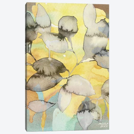 Yellow Leaves Abstract Canvas Print #ABI15} by Andrea Bijou Art Print