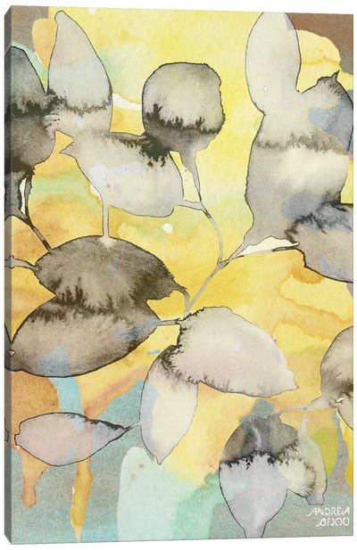 Yellow Leaves Abstract Canvas Art Print