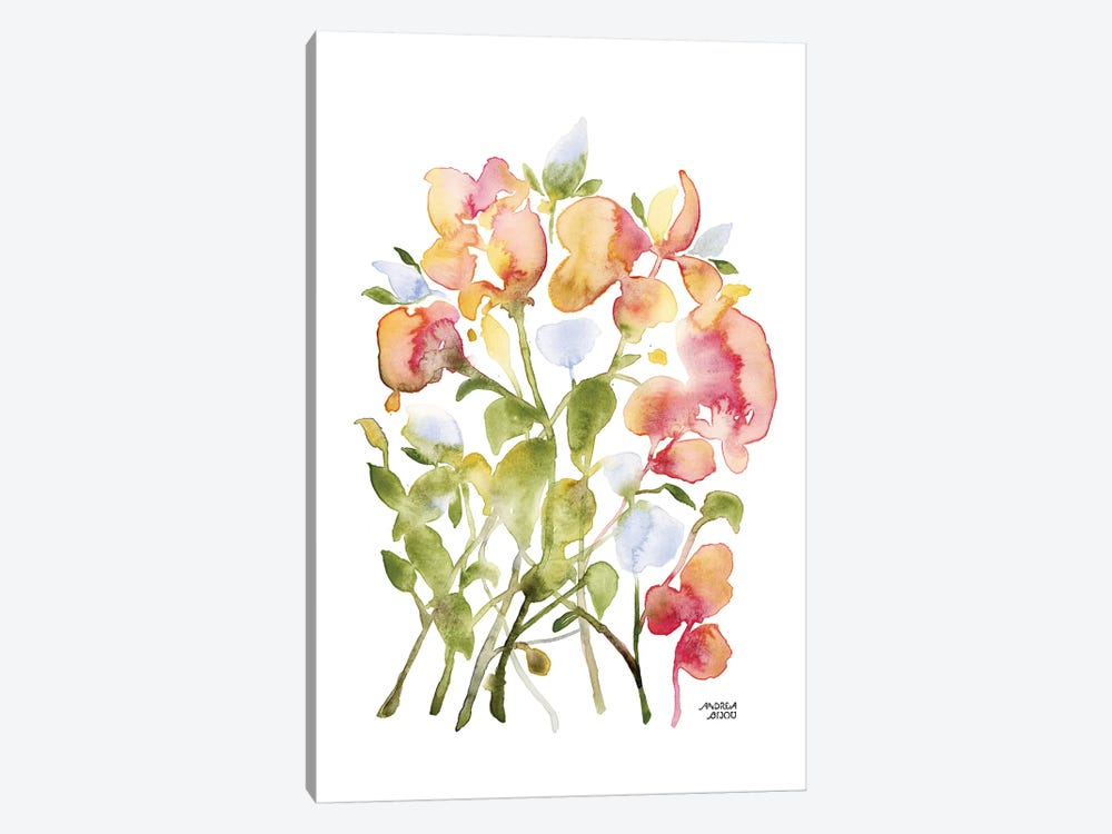 Blue and Pink Florals by Andrea Bijou 1-piece Canvas Art Print