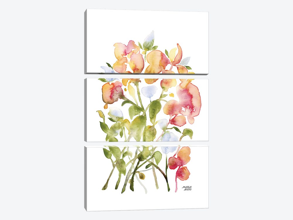 Blue and Pink Florals by Andrea Bijou 3-piece Canvas Print