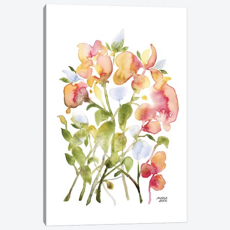 Blue and Pink Florals Canvas Print #ABI4} by Andrea Bijou Canvas Wall Art