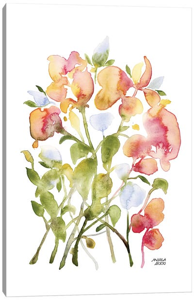 Blue and Pink Florals Canvas Art Print