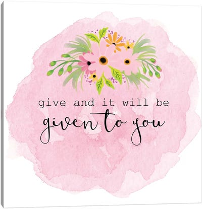Give Canvas Art Print