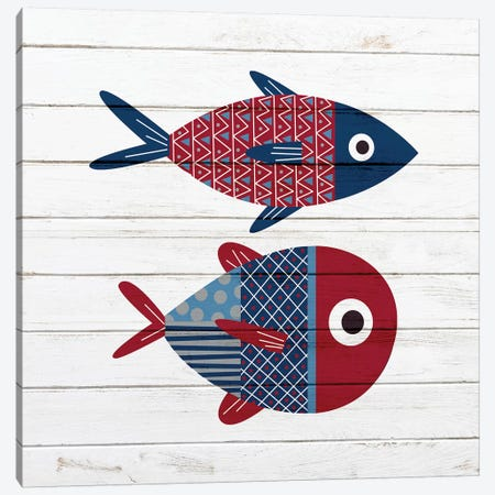 Americana Fish I Canvas Print #ABL21} by Ann Bailey Canvas Artwork