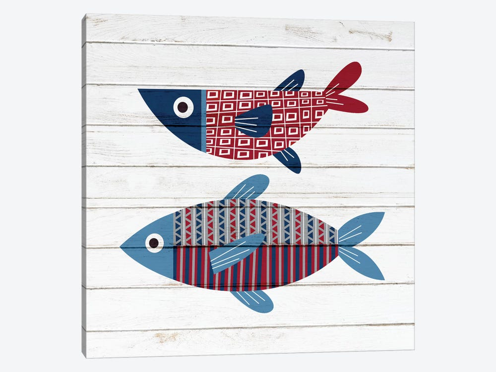Americana Fish II by Ann Bailey 1-piece Canvas Art