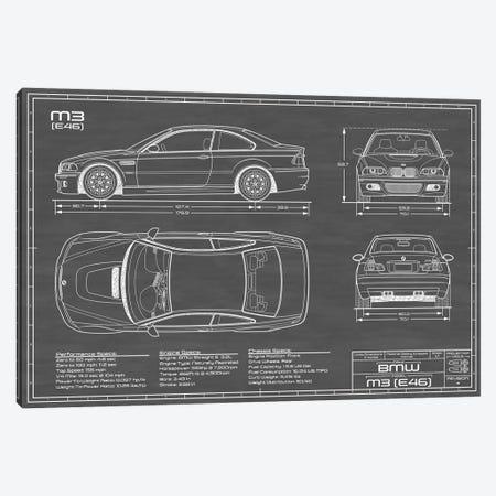 BMW M2 (E46) Black Canvas Print #ABP11} by Action Blueprints Art Print