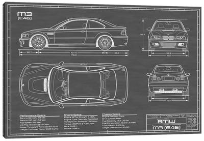 BMW M2 (E46) Black Canvas Art Print