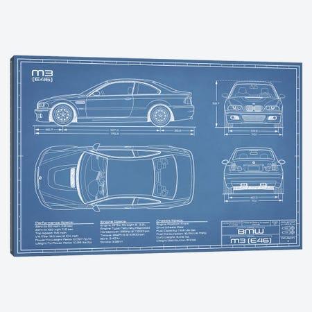 BMW M2 (E46) Blueprint 3-Piece Canvas #ABP12} by Action Blueprints Art Print