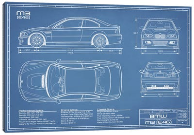 BMW M2 (E46) Blueprint Canvas Art Print