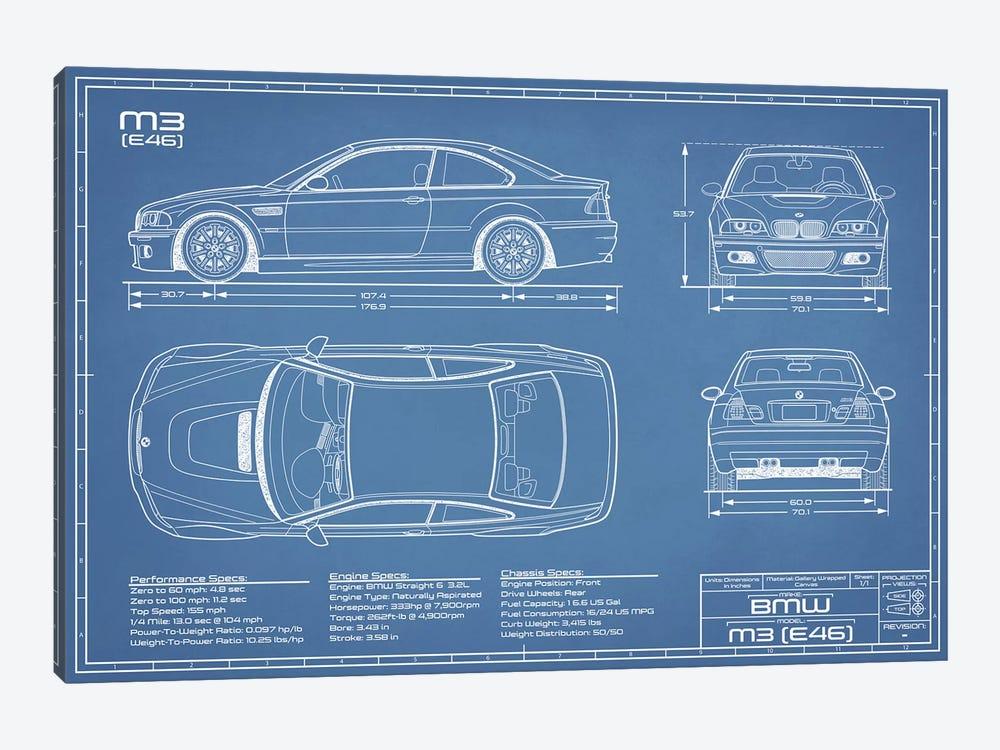 BMW M2 (E46) Blueprint by Action Blueprints 1-piece Canvas Art