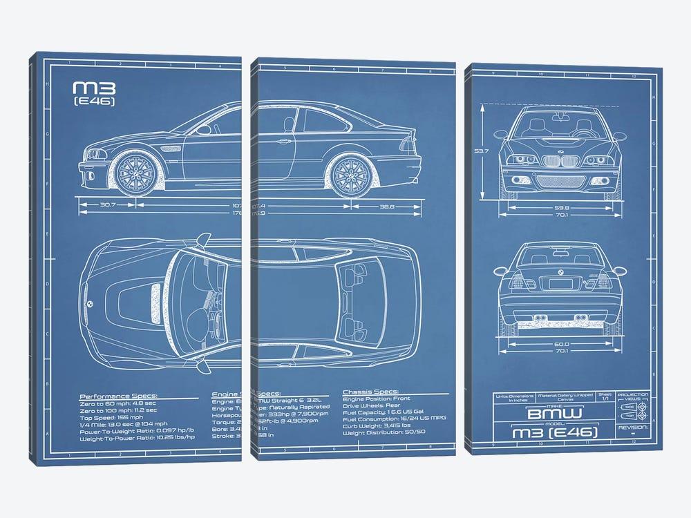 BMW M2 (E46) Blueprint by Action Blueprints 3-piece Canvas Art