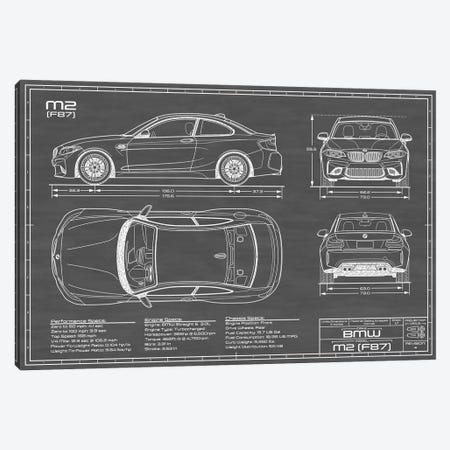 BMW M2 (F87) Black Canvas Print #ABP13} by Action Blueprints Canvas Print