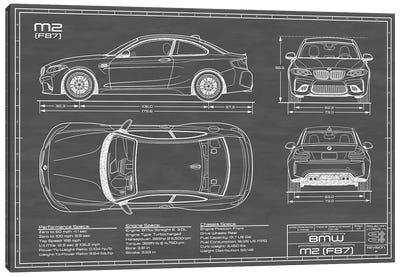 BMW M2 (F87) Black Canvas Art Print