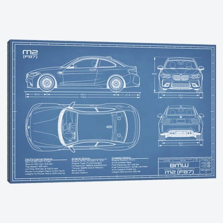 BMW M2 (F87) Blueprint Canvas Print #ABP14} by Action Blueprints Canvas Artwork