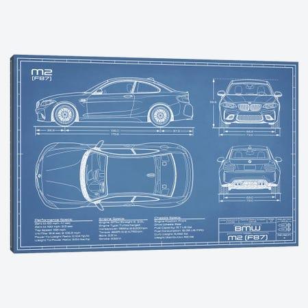 BMW M2 (F87) Blueprint 3-Piece Canvas #ABP14} by Action Blueprints Canvas Artwork