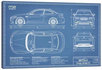 BMW M2 (F87) Blueprint Canvas Art Print