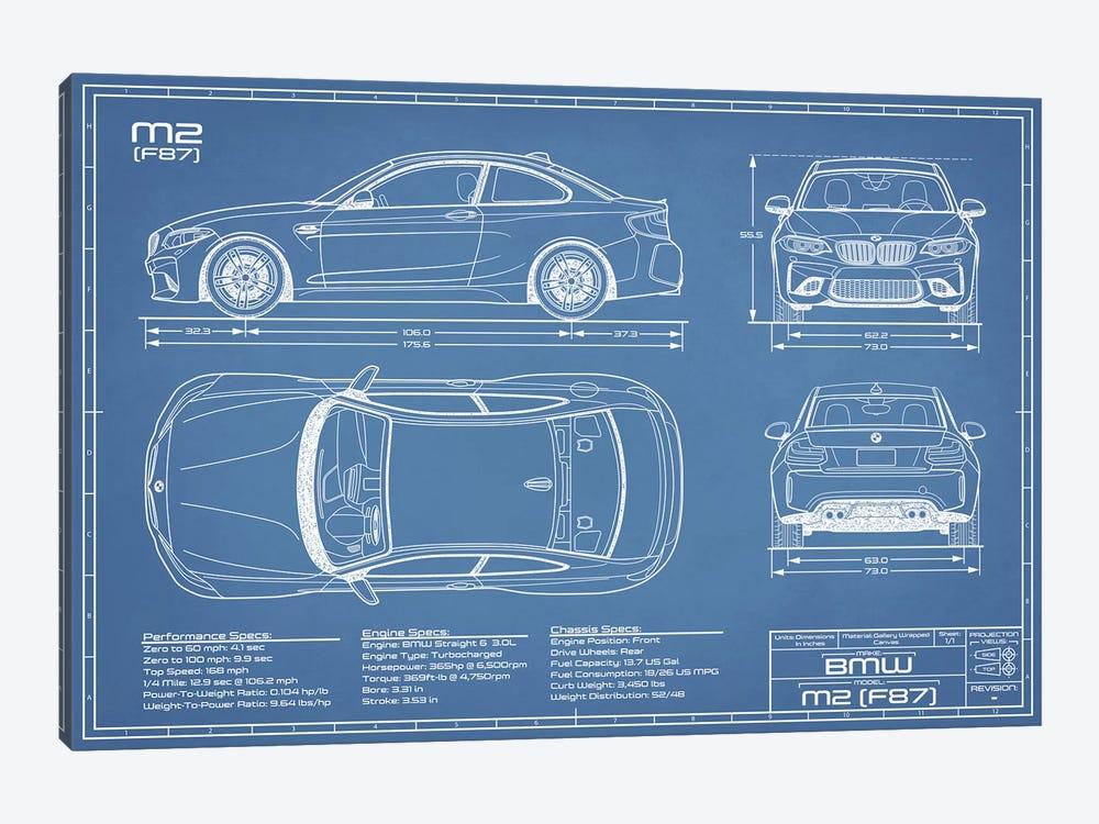 BMW M2 (F87) Blueprint by Action Blueprints 1-piece Canvas Wall Art