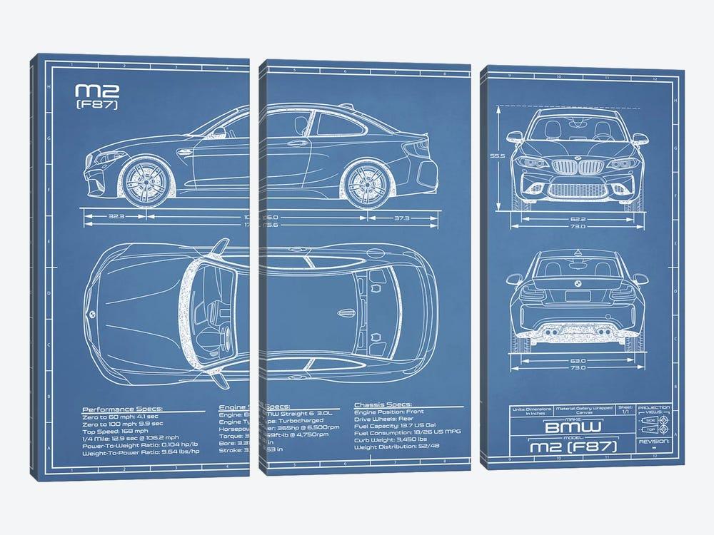 BMW M2 (F87) Blueprint by Action Blueprints 3-piece Canvas Wall Art