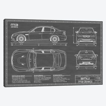 BMW M3 (E90) Black Canvas Print #ABP15} by Action Blueprints Canvas Artwork