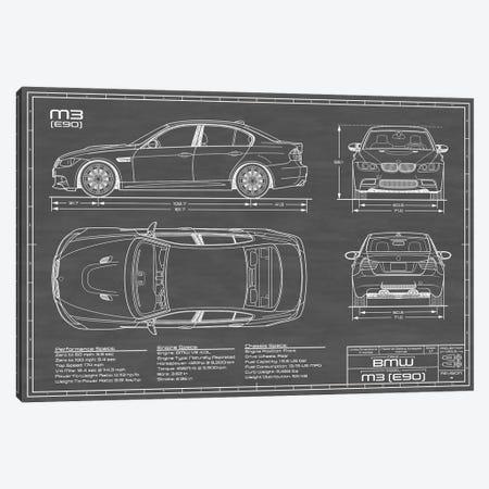 BMW M3 (E90) Black Canvas Print #ABP15} by Action Blueprints Canvas Artwork