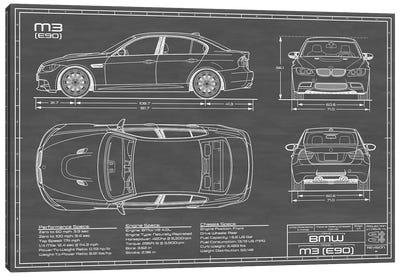 BMW M3 (E90) Black Canvas Art Print