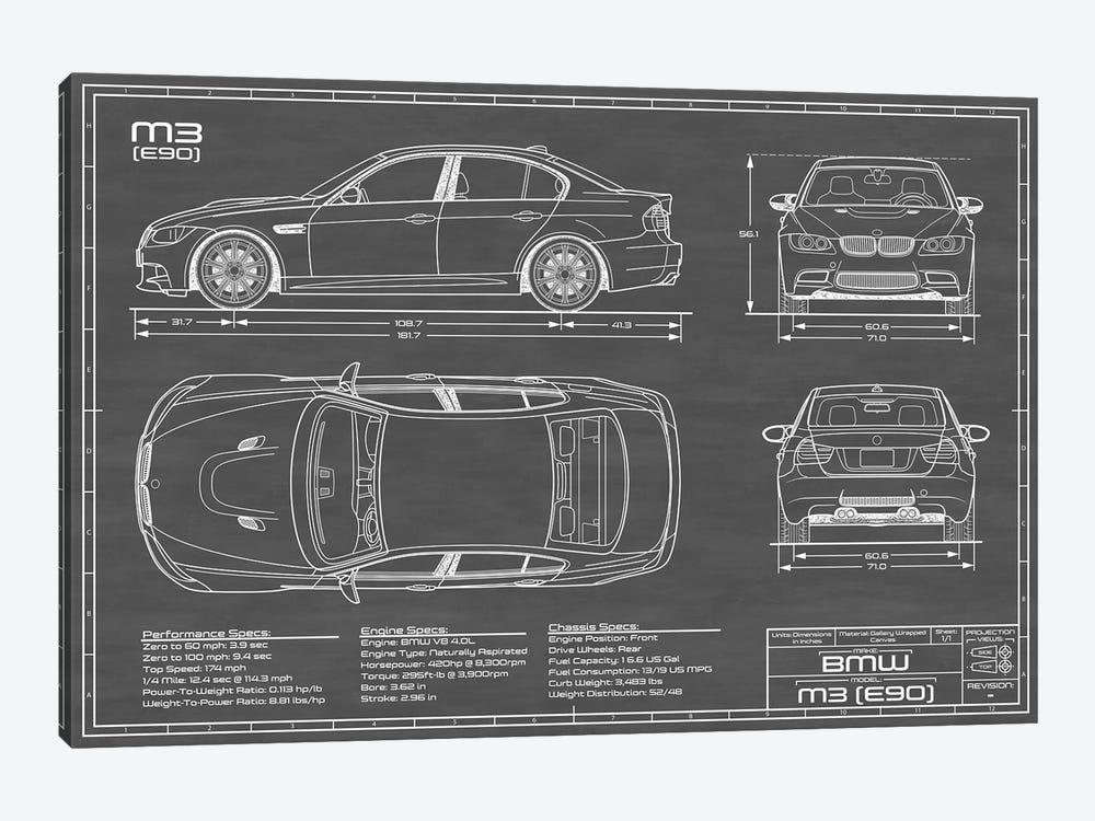 BMW M3 (E90) Black by Action Blueprints 1-piece Canvas Art Print