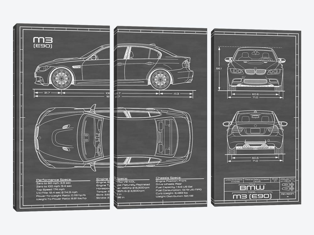 BMW M3 (E90) Black by Action Blueprints 3-piece Canvas Art Print